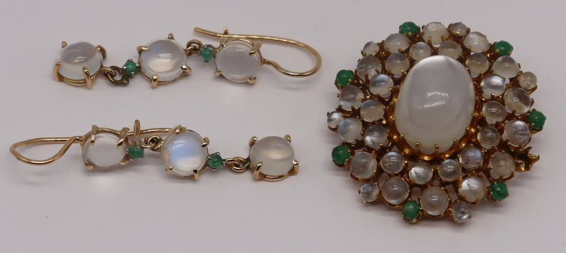 JEWELRY. 14kt Gold, Moonstone and Emerald Suite.