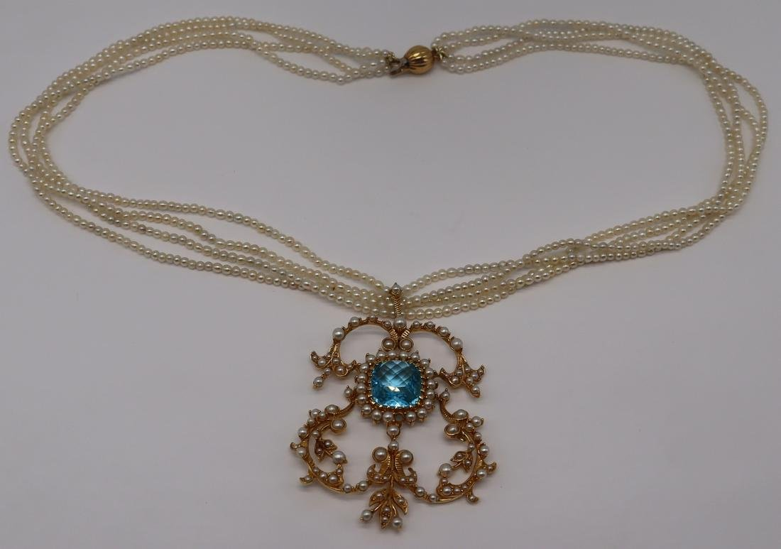 JEWELRY. 18kt Gold, Seed Pearl and Faceted Gem