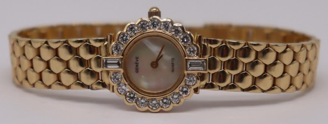 JEWELRY. Ladies Geneve 14kt Gold and Diamond Watch