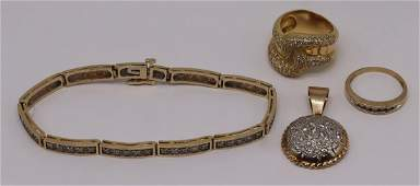JEWELRY. Assorted Gold and Diamond Jewelry Group.