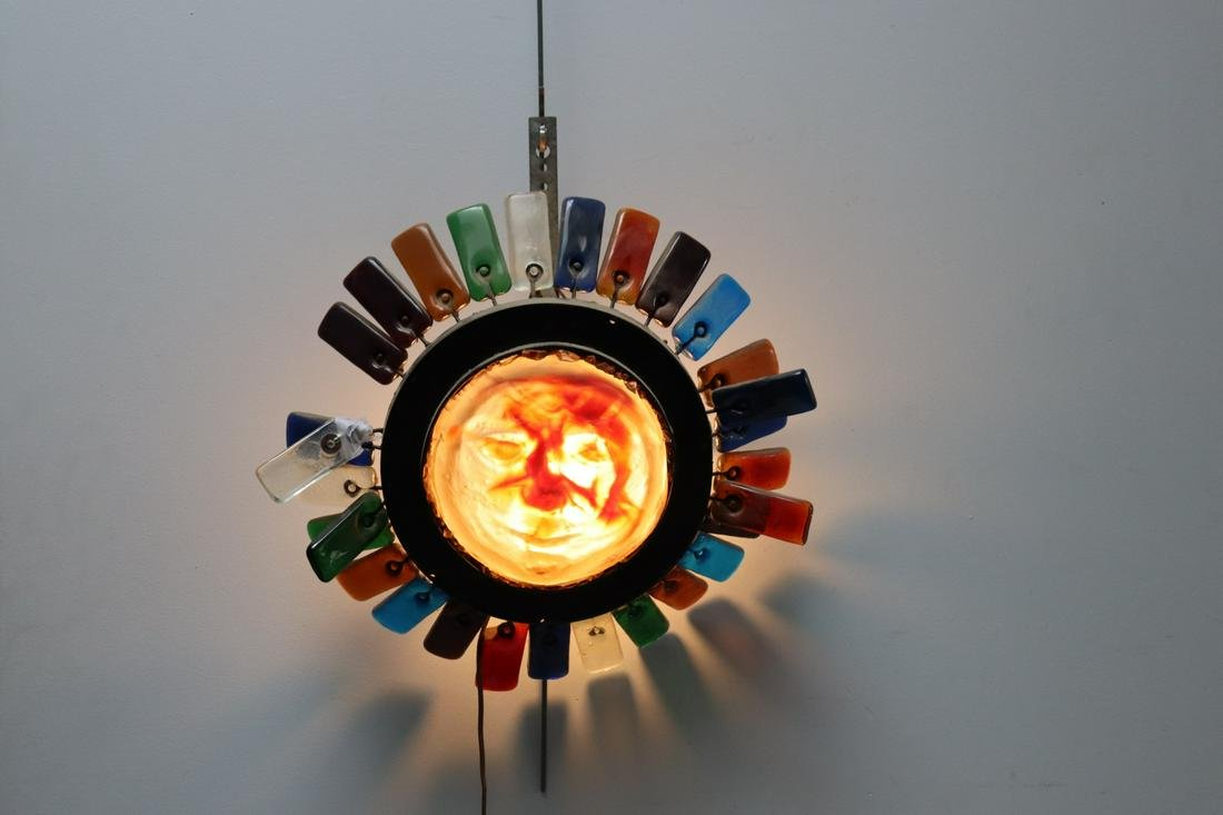 MIDCENTURY Glass Sunburst Style Lamp With Face