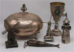 SILVER. Grouping of Silver Judaica Tablewares.