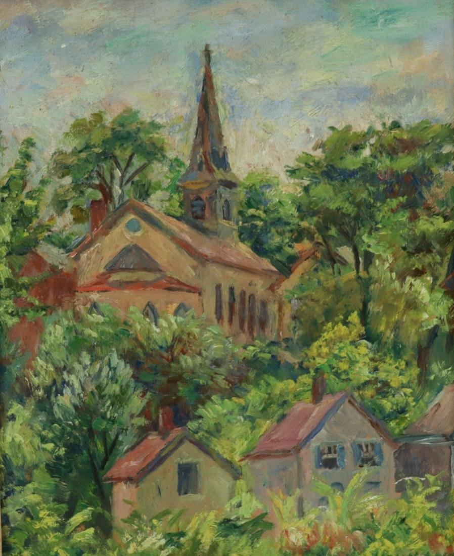 Howland. Signed Oil On Canvas Church In Landscape.