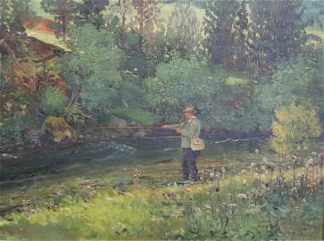 SIGNED NEOGRADY OIL ON CANVAS FLY FISHING.