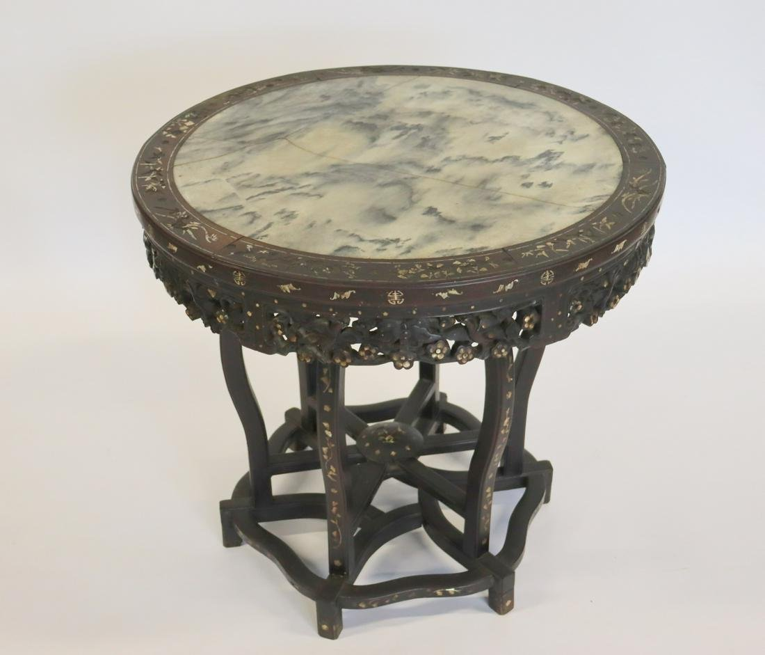 Antique Chinese Pierce Carved Rosewood Table