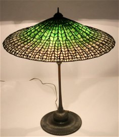 "Tiffany Studios Table Lamp With ""Lotus"" Shade"