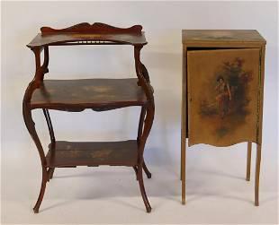 Antique Vernis Martin Style Music Cabinet