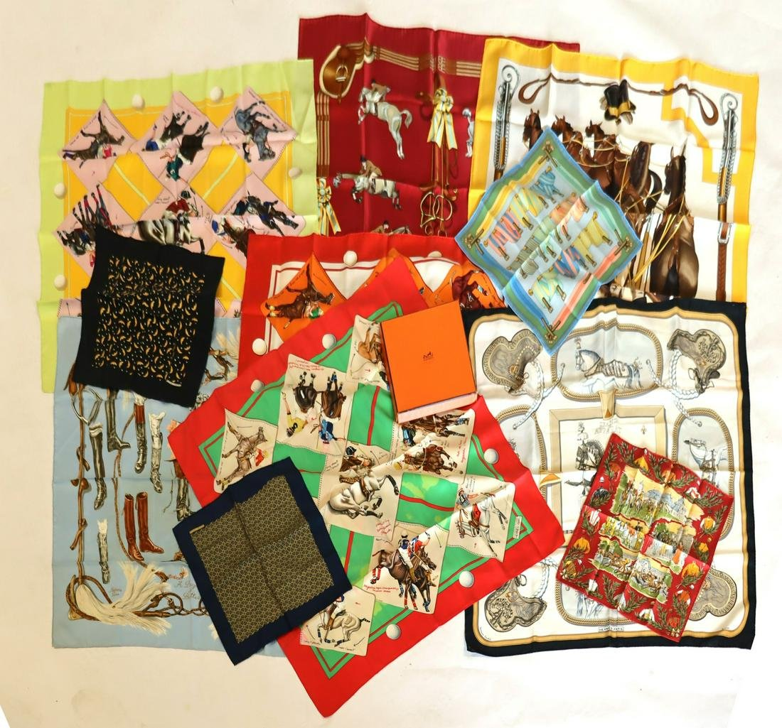 COUTURE. Collection of (11) Hermes Silk Scarves.