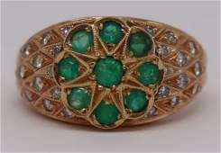 JEWELRY Signed 14kt Gold Emerald and Diamond