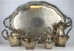 SILVER. 4 Pc. 19th C English Silver Tea Service.