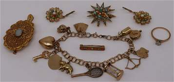 JEWELRY. Assorted Antique/Vintage Gold Grouping.