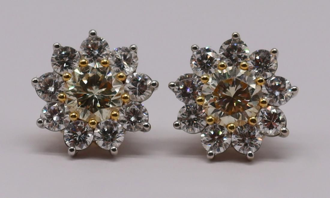 JEWELRY. GIA Floral Form Diamond Earrings with