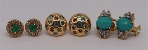 JEWELRY. Assorted Gold Earring Grouping.
