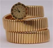 JEWELRY. Bvlgari Tubogas 18kt Gold Watch.