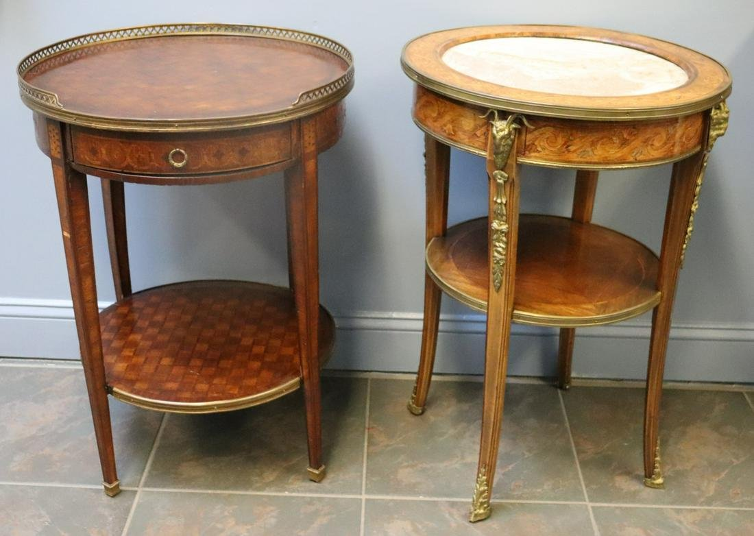 2 Antique French Bronze Mounted Tables .
