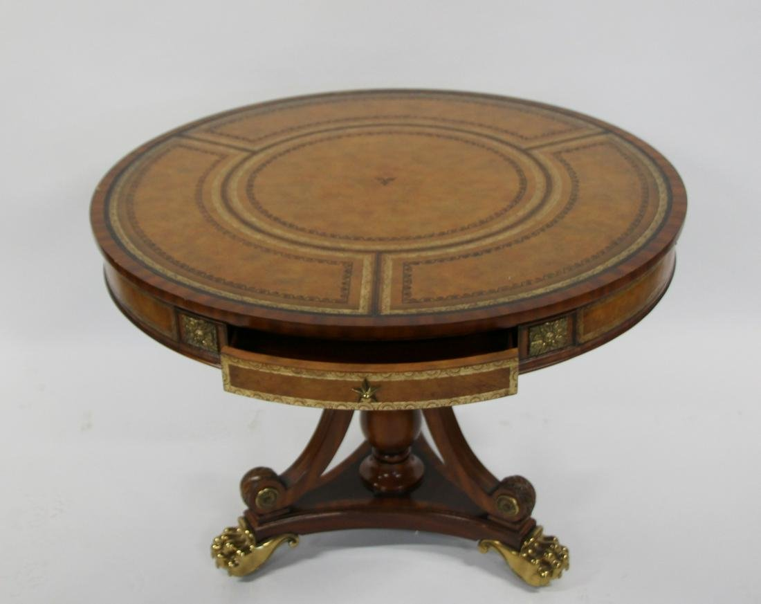 Maitland Smith Signed Leathertop Center Table with