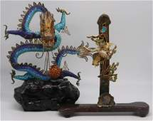SILVER Chinese Enameled Silver Cabinet Sculptures