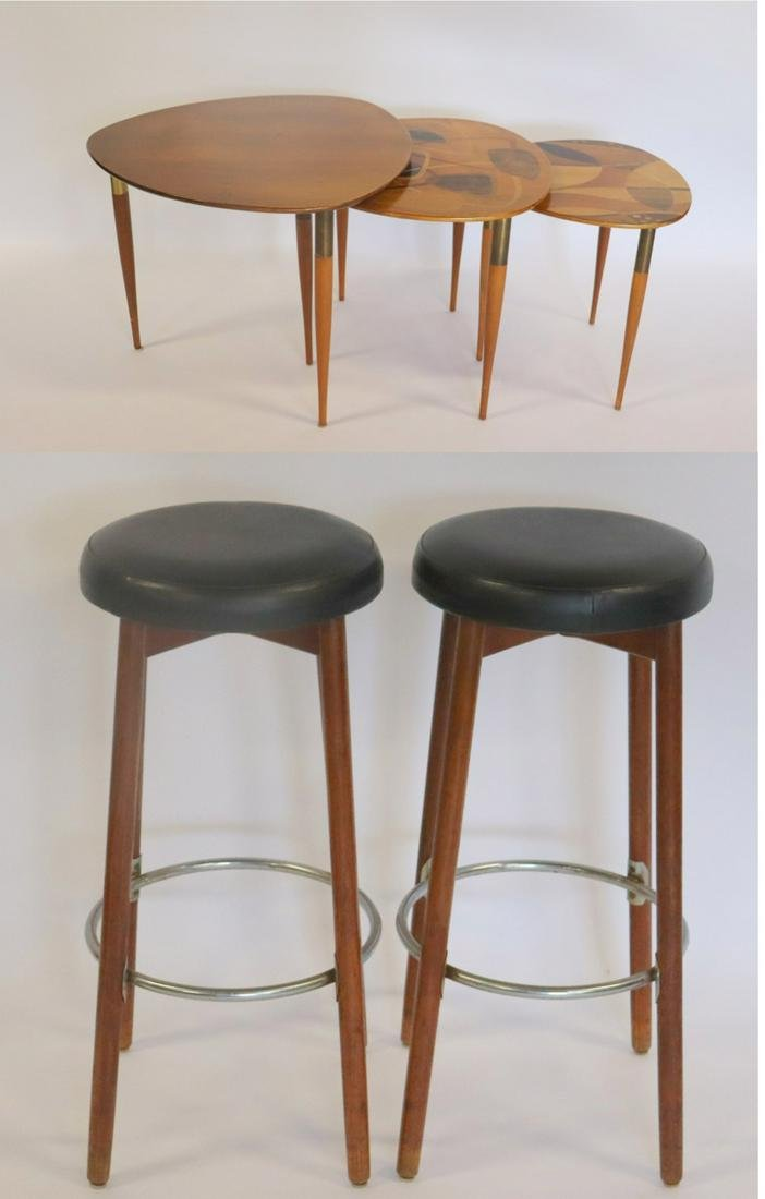 Midcentury Danish Modern Stools Together With