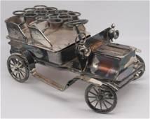 SILVER. English Silver Antique Car Cigar Holder.