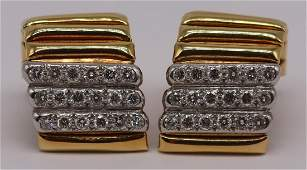 JEWELRY Pair of Signed Forley 18kt Gold Platinum