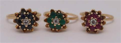 JEWELRY 3 14kt Gold  Colored Gem Floral Rings