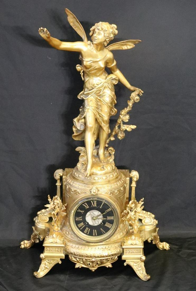 Antique Gilt Metal Louis XV Style Figural Clock.