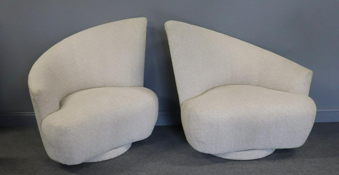 Pair Of Midcentury Style High Back Swivel Chairs