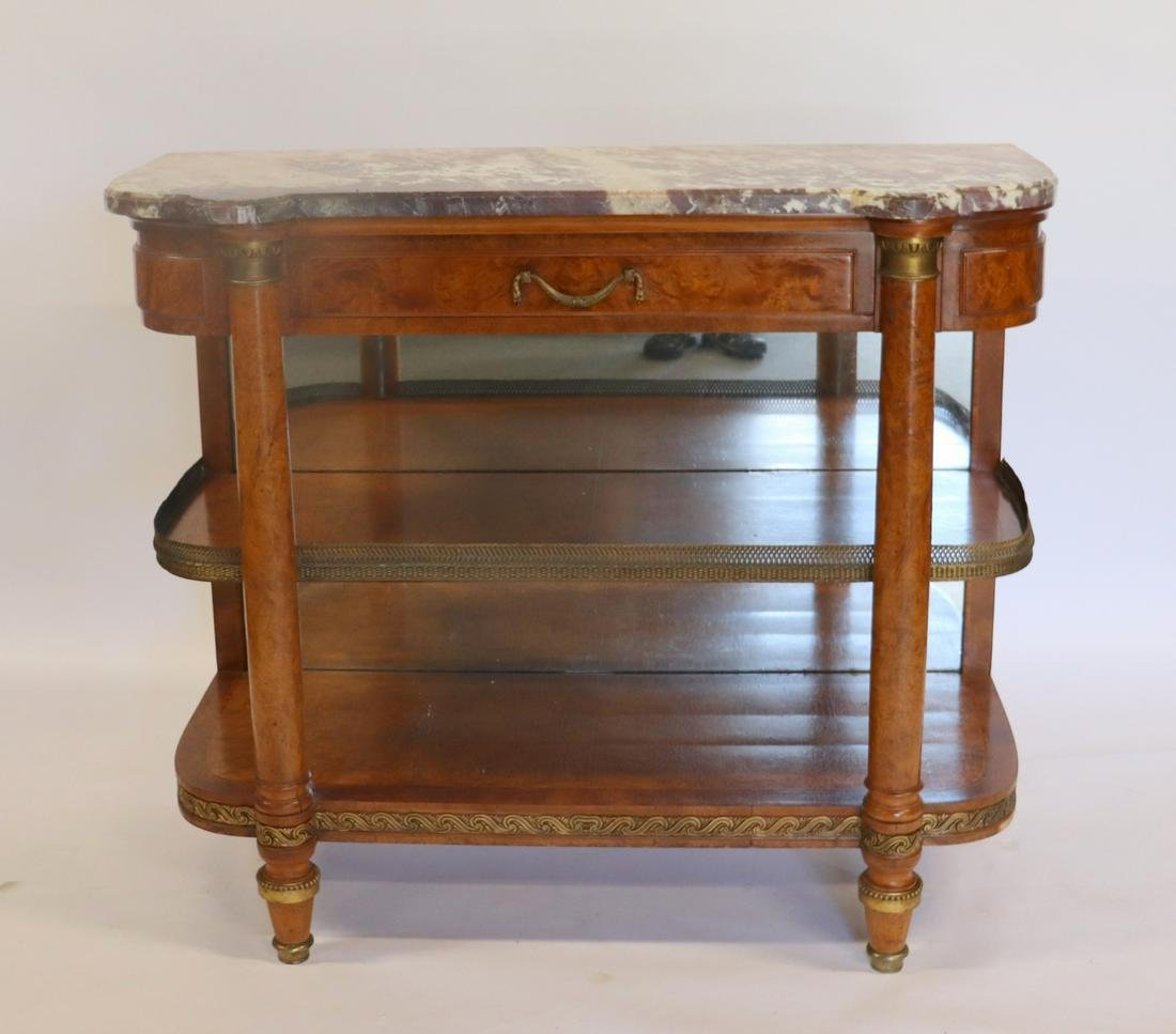 Antique Continental Marble Top 2 Tier Etagere /