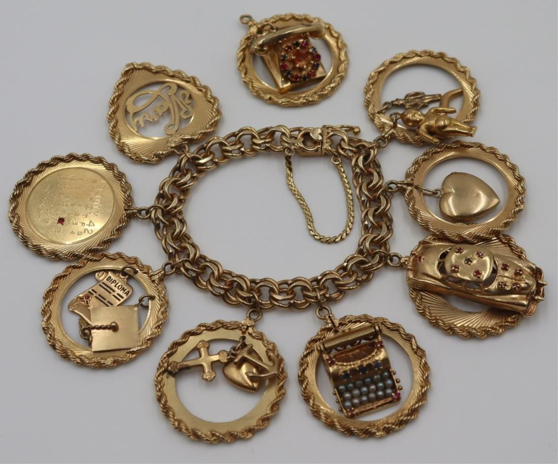 JEWELRY. Heavy 14kt Gold Charm Bracelet and Charm.