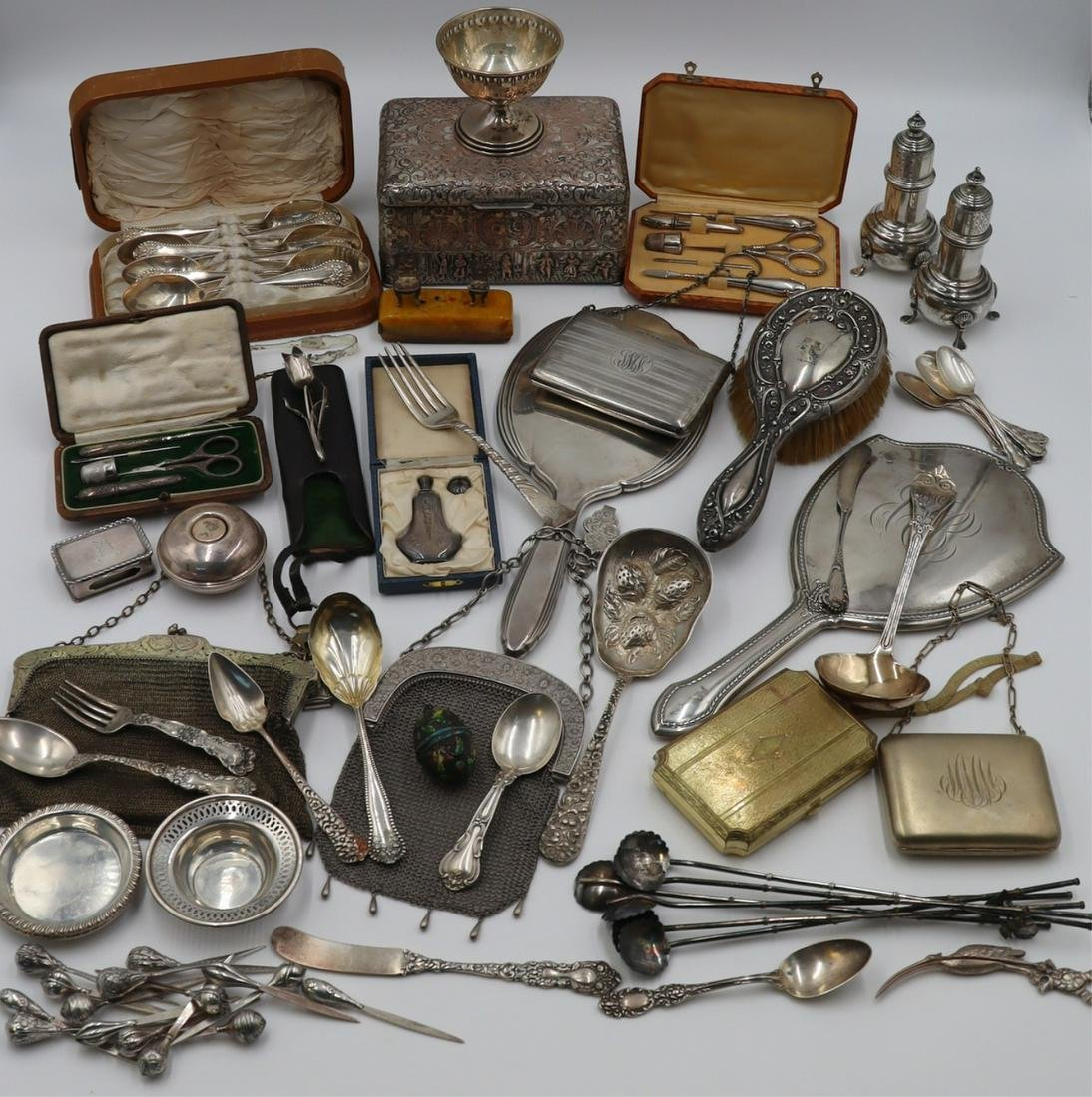 SILVER. Large Group of Assorted Silver & Objects.