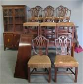 Antique Mahogany Hepplewhite Style Dining Room Set