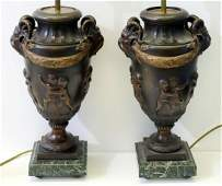 Pair Of Patinated Bronze Urn Form Lamps.
