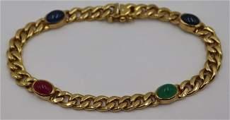 JEWELRY. Italian 18kt Gold & Colored Gem Bracelet.
