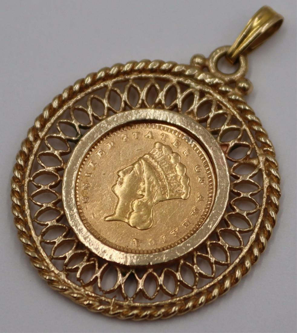 JEWELRY. 14kt Gold 1873 Indian Princess Pendant.