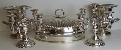 SILVER & SILVERPLATE. Grouping of .830 Silver and