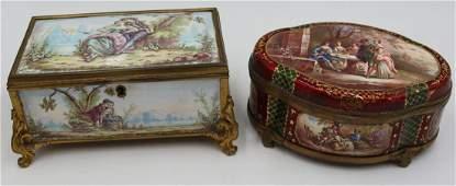 (2) Viennese Enamel Decorated Vanity Boxes.