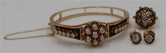 JEWELRY. 4 Pc. 14kt Gold Enamel and Diamond Suite.