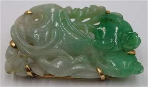 JEWELRY. 14kt Gold Mounted and Carved Jade Brooch.
