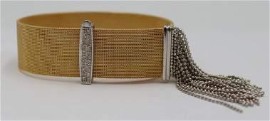 JEWELRY. Italian 14kt Gold and Diamond Bracelet.