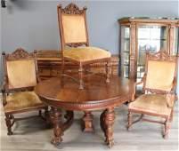 Antique Horner Style Carved Oak Dining Set