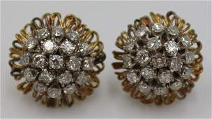 JEWELRY. 14kt Gold & Diamond Floral Form Earrings.