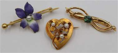 JEWELRY. Grouping of (3) Antique/Vintage Brooches.