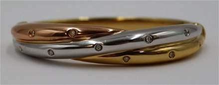 JEWELRY. Italian Tri-color 18kt Gold and Diamond