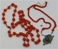2 Victorian Coral Beaded Necklaces