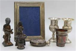 JUDAICA. Assorted Grouping of Silver Decor.