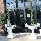 A Pair Of White Painted Cast Iron Urns With