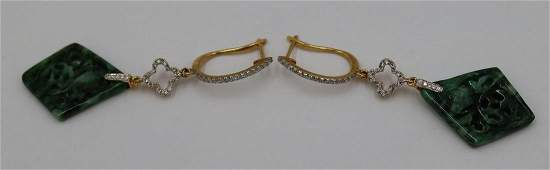 Pair of Signed 18kt Gold, Jade and Diamond Drop