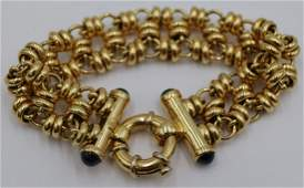 JEWELRY. Italian 18kt Gold and Sapphire Bracelet.