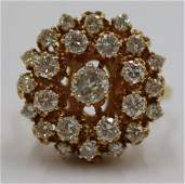 JEWELRY Signed 14kt Gold and Diamond Cluster Ring