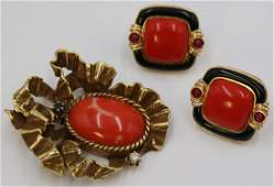 JEWELRY. Assorted Gold Coral Jewelry Grouping.